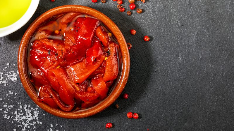 Roasted red pepper and chèvre on toast rounds with honey