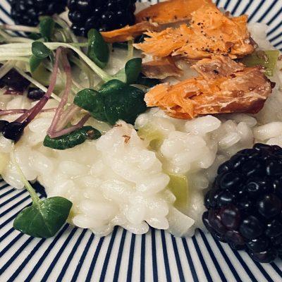 Arborio Rice with Leeks , Smoked Salmon and Blackberries